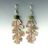Oak Leaf & Jade Earrings - Click for Detail